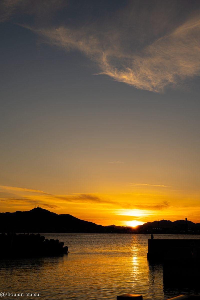 湯川漁港の夕陽